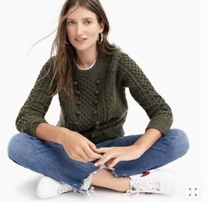 JCrew Olive Popcorn Cable Knit sweater